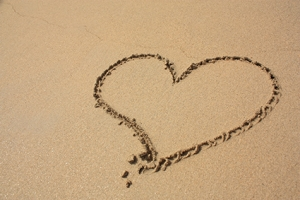 Heart on the sandy beach